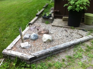 The rock garden to be replaced.