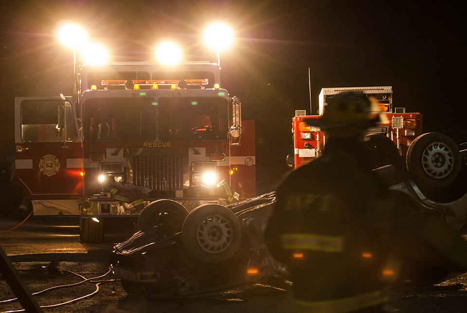 Image of department training for motor vehicle accident.